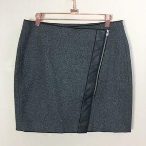Banana Republic Grey Wool Leather Wrap Skirt 8P